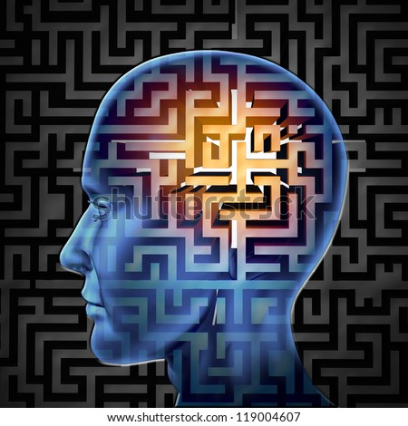 Brain search and human intelligence for research in finding solutions by creative paths and overcoming challenges and obstacles to mental health issues with a glowing maze or labyrinth on a head. - stock photo