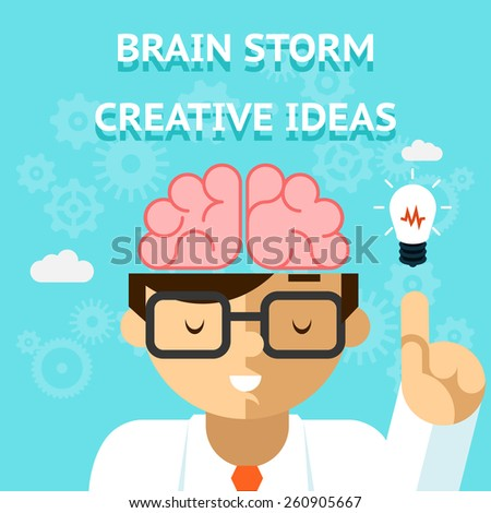 Brain storm creative idea concept. Business and bulb, think and inspiration - stock photo