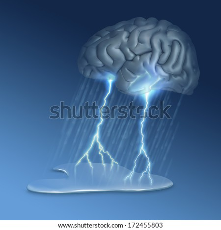 Brain Storm - many uses, for example this image could illustrate grieving, mental illness or creativity - 3d rendered brain with digital painting. - stock photo