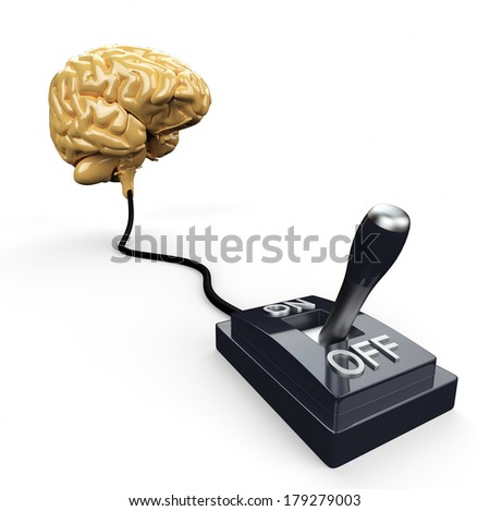Brain switch - turn OFF - stock photo