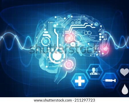 brain waves - stock photo