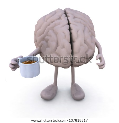 brain with arms and legs and cup of coffee, 3d illustration - stock photo
