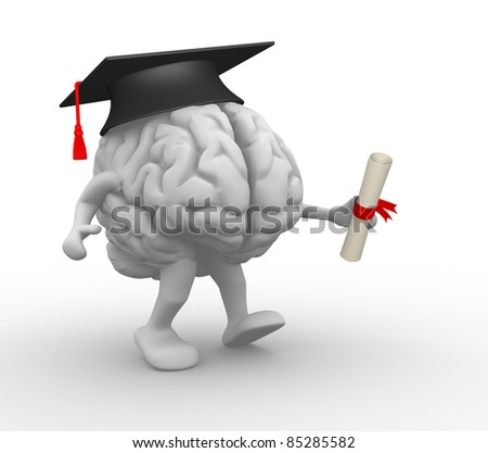 Brain with graduation cap and diploma.  3d render illustration - stock photo