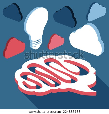Brain with light bulb and clouds made in 3d flat design cartoon style. Raster version - stock photo