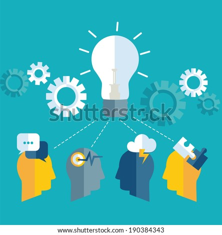 Brainstorm. Teamwork concept. Vector. Brainstorming. Concept teamwork. Raster copy. - stock photo