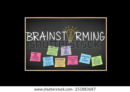Brainstorming Blackboard: Choose the Right People, Quarantine Idea Crushers, Promote Discussion, Divide and Conquer Ideas Light bulb post it notes isolated on black background - stock photo