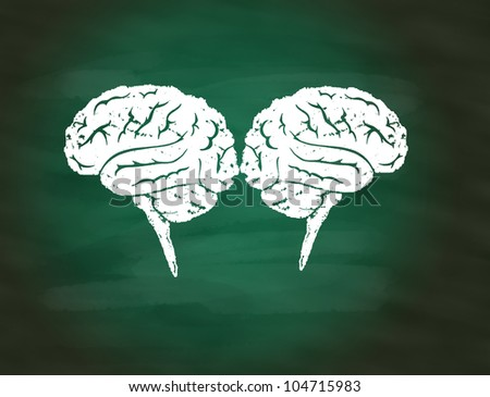 Brainstorming concept,drawing of brain maze puzzle on green chalkboard - stock photo