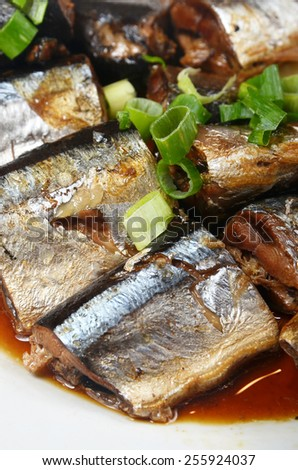 Braised fish in soy sauce  - A Popular Taiwan food - stock photo