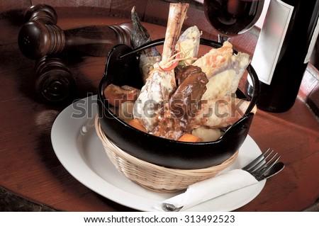 Braised lamb shank with tempura - stock photo