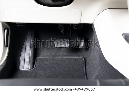 Brake and accelerator pedal of automatic transmission car - stock photo
