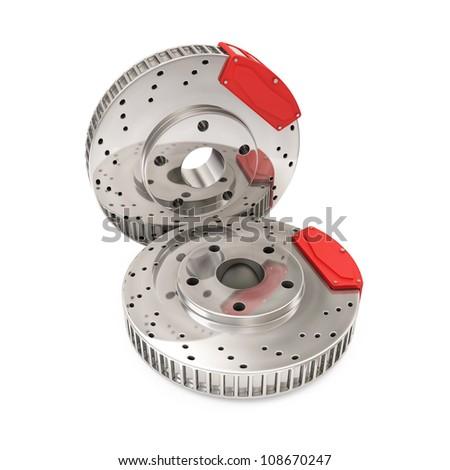 Brake Discs isolated on white background - stock photo