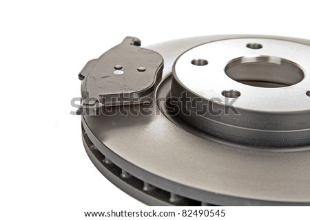 brake disk and one brake pad - stock photo