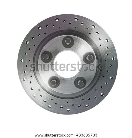 brake disk with perforation on white background High resolution 3d render - stock photo