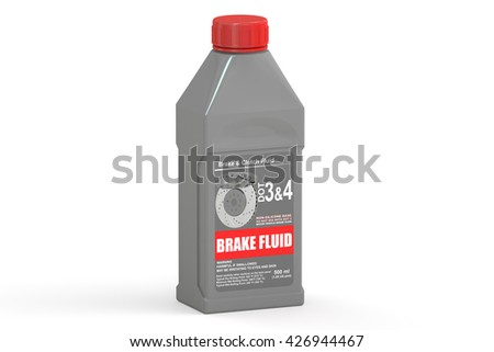 Brake Fluid, 3D rendering isolated on white background - stock photo