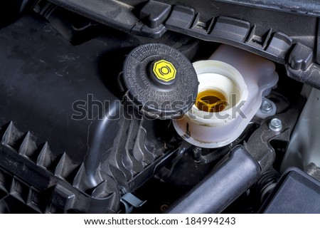 Brake fluid reservoir and warning cap - stock photo
