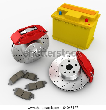 brake system and car battery on white background. 3d render. - stock photo