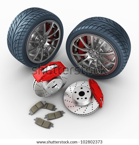 brake system and wheels on white background. 3d render. - stock photo