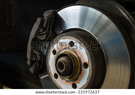 Braking system with disk open for repair maintenance and service - stock photo