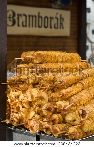 Bramborak. Potato chips manual preparation. Czech republic. - stock photo