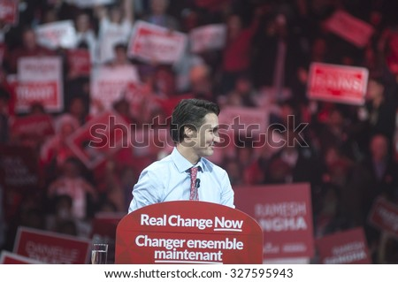 BRAMPTON - OCTOBER 4 :Justin Trudeau in a relaxed mood during an election rally of the Liberal Party of Canada on October 4, 2015 in Brampton, Canada. - stock photo
