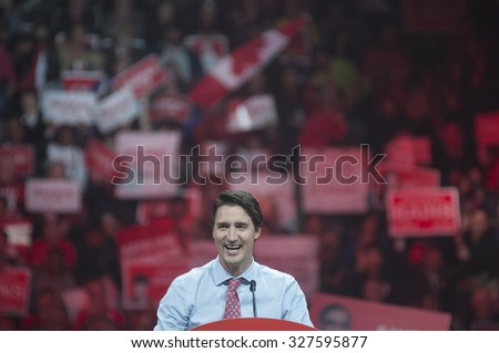 BRAMPTON - OCTOBER 4 :Justin Trudeau smiling during an election rally of the Liberal Party of Canada on October 4, 2015 in Brampton, Canada. - stock photo