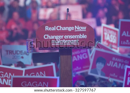 "BRAMPTON -OCTOBER 4:""Real Change Now"" the tagline of the liberal party being displayed under the microphone in an election rally of the Liberal Party of Canada on October 4,2015 in Brampton,Canada. - stock photo"