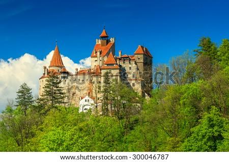 Bran castle and summer landscape,Transylvania,Romania - stock photo