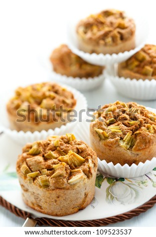 Bran muffins with rhubarb and cinnamon - stock photo