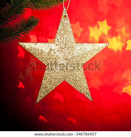 branch of Christmas tree with decoration - stock photo