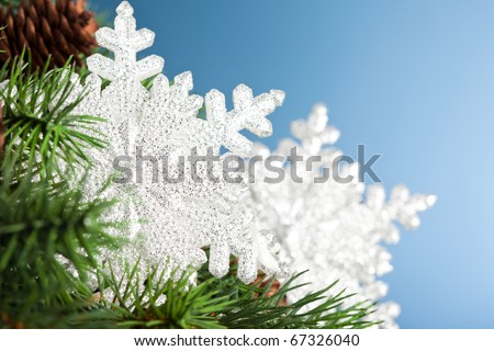 branch of Christmas tree with snowflake - stock photo