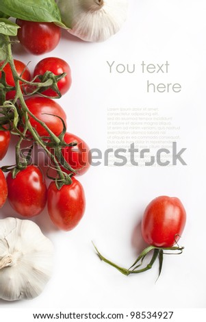 Branch of fresh tomatoes with garlic isolated over white. With sample text - stock photo