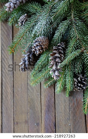 branches of spruce and pine cones, xmas - stock photo