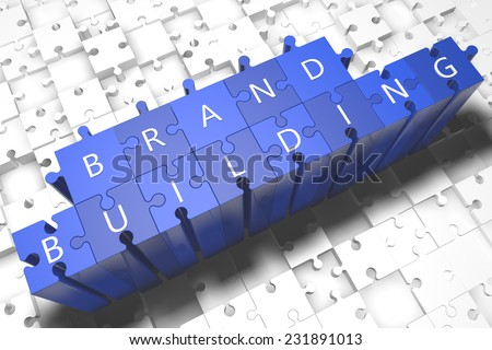 Brand Building - puzzle 3d render illustration with block letters on blue jigsaw pieces  - stock photo