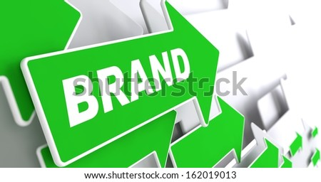 """Brand - Business Concept. Green Arrow with """"Brand"""" Word on a Grey Background. - stock photo"""