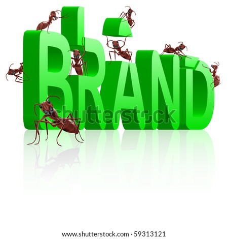 brand development or creation of strong green name - stock photo