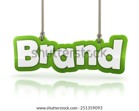 Brand green word text isolated on white background with clipping path - stock photo