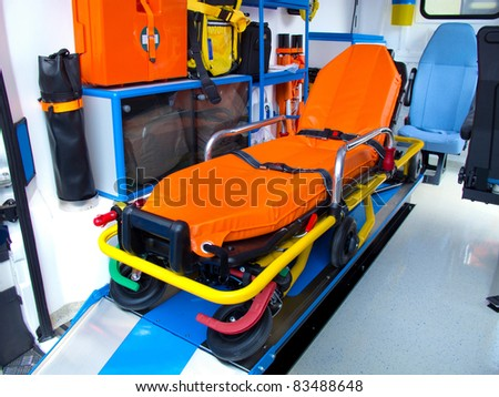 brand new ambulance for the hospital - stock photo