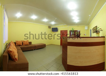 brand new and modern lobby interior of gym - stock photo