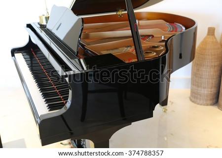 Brand new baby grand piano and keyboard. - stock photo