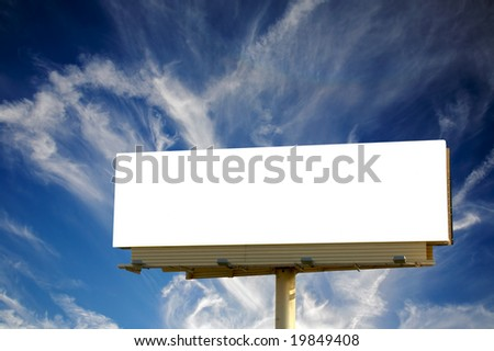 Brand new billboard and a wispy blue sky - stock photo