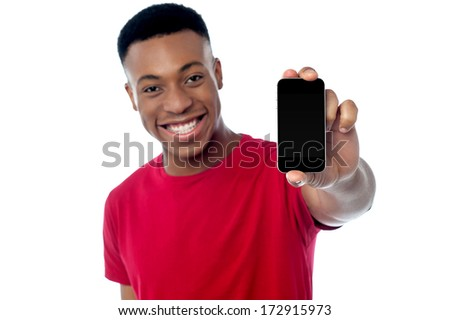 Brand new cellphone is out for sale, buy now! - stock photo