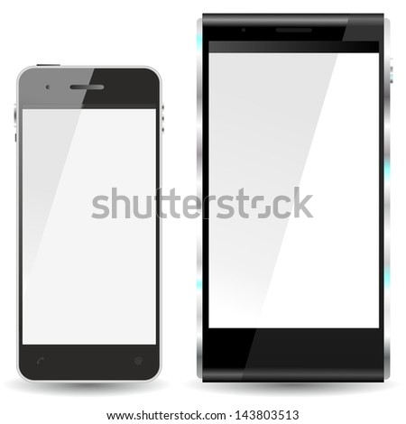 brand new future smartphone 6 release of all best selling top brand, comparison with the version 5, front view - stock photo