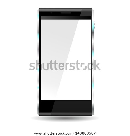 brand new future smartphone 6 release of all best selling top brand, front view, white blank screen - stock photo