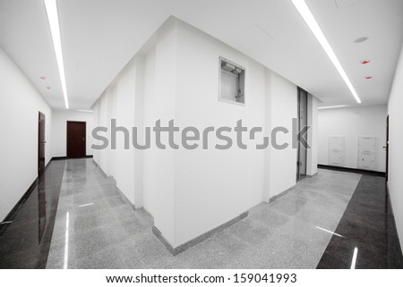 brand new interior of office with white walls - stock photo