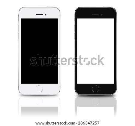 Brand new realistic mobile phone smartphone iphon style collection mockups with blank screen isolated on white background with reflection and shadow. Game and application mockup. - stock photo