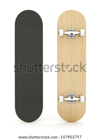 brand new skateboard, pictured on a white background - stock photo