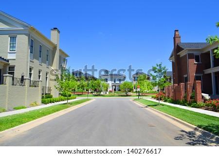 Brand New Suburban Neighborhood Development - stock photo