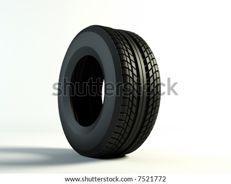 Brand new tyre, 3d rendering of car wheel - stock photo