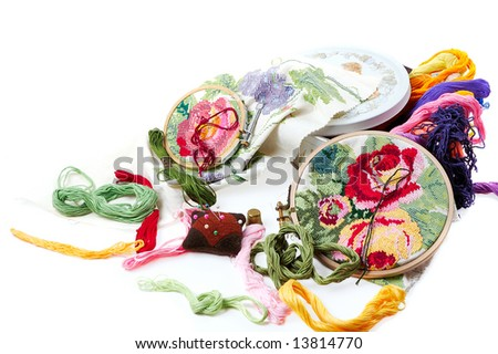 brand of color threads,needle cushion,pins,tambour and another stuff  for embroidery - stock photo