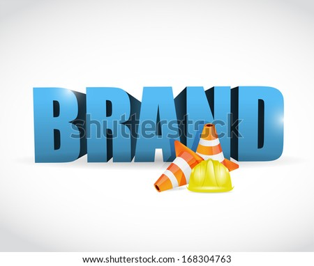 brand under construction cone illustration design over a white background - stock photo
